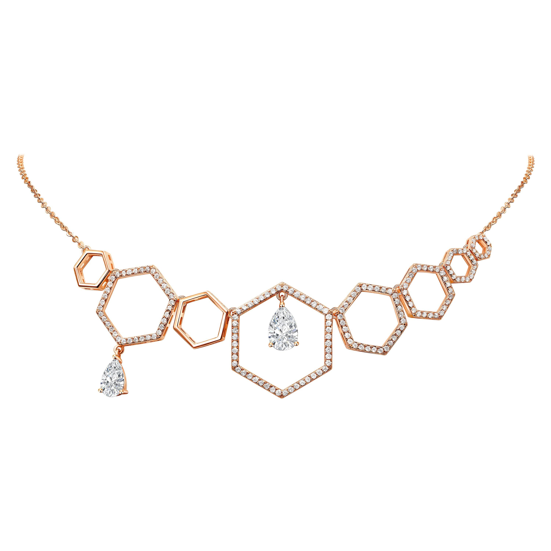 18 Karat Rose Gold Diamond Grand Halo Necklace