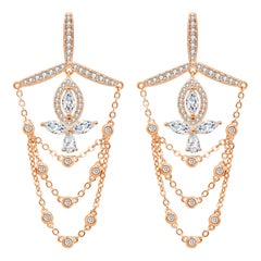 18 Karat Rose Gold Diamond Grand Leaf Earrings
