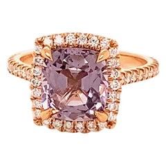 18 Karat Rose Gold Diamond Halo 3 Carat Lavender Spinel Ring