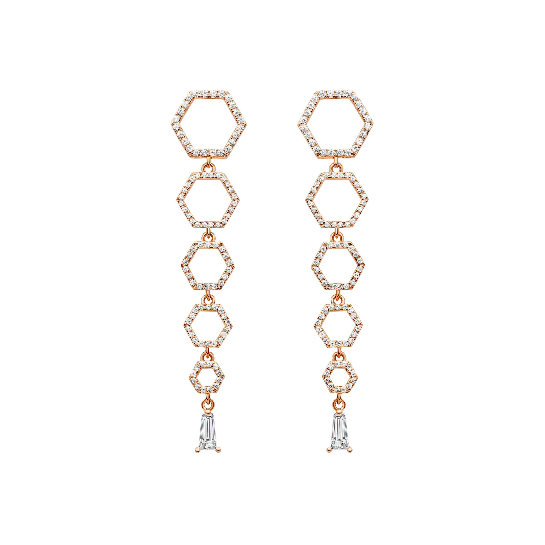 18 Karat Rose Gold Diamond Halo Drop Earrings