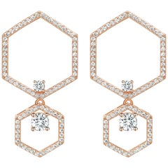 18 Karat Rose Gold Diamond Halo Earrings