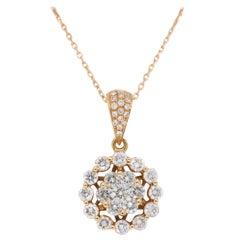 18 Karat Rose Gold Diamond Halo Pendant Necklace