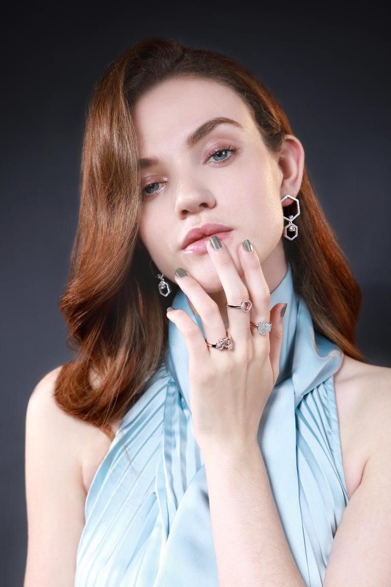 Contemporary 18 Karat Rose Gold Diamond Halo Ring For Sale