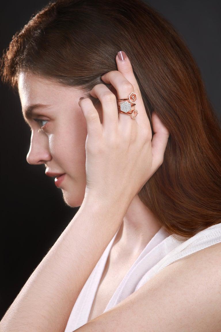 18 Karat Rose Gold Diamond Halo Ring For Sale 3