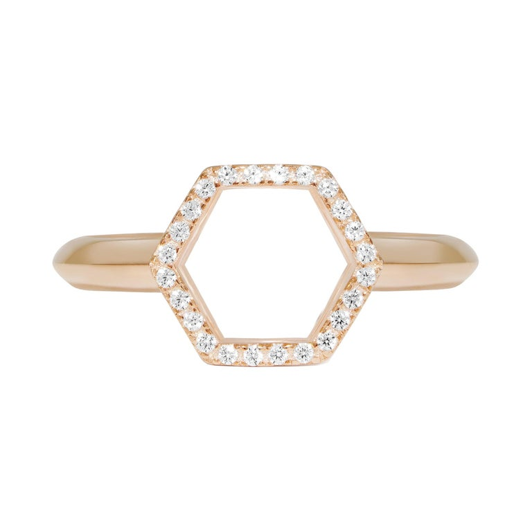 18 Karat Rose Gold Diamond Halo Ring For Sale
