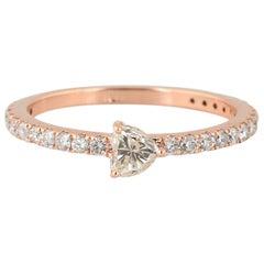 18 Karat Rose Gold Diamond Heart Band Ring