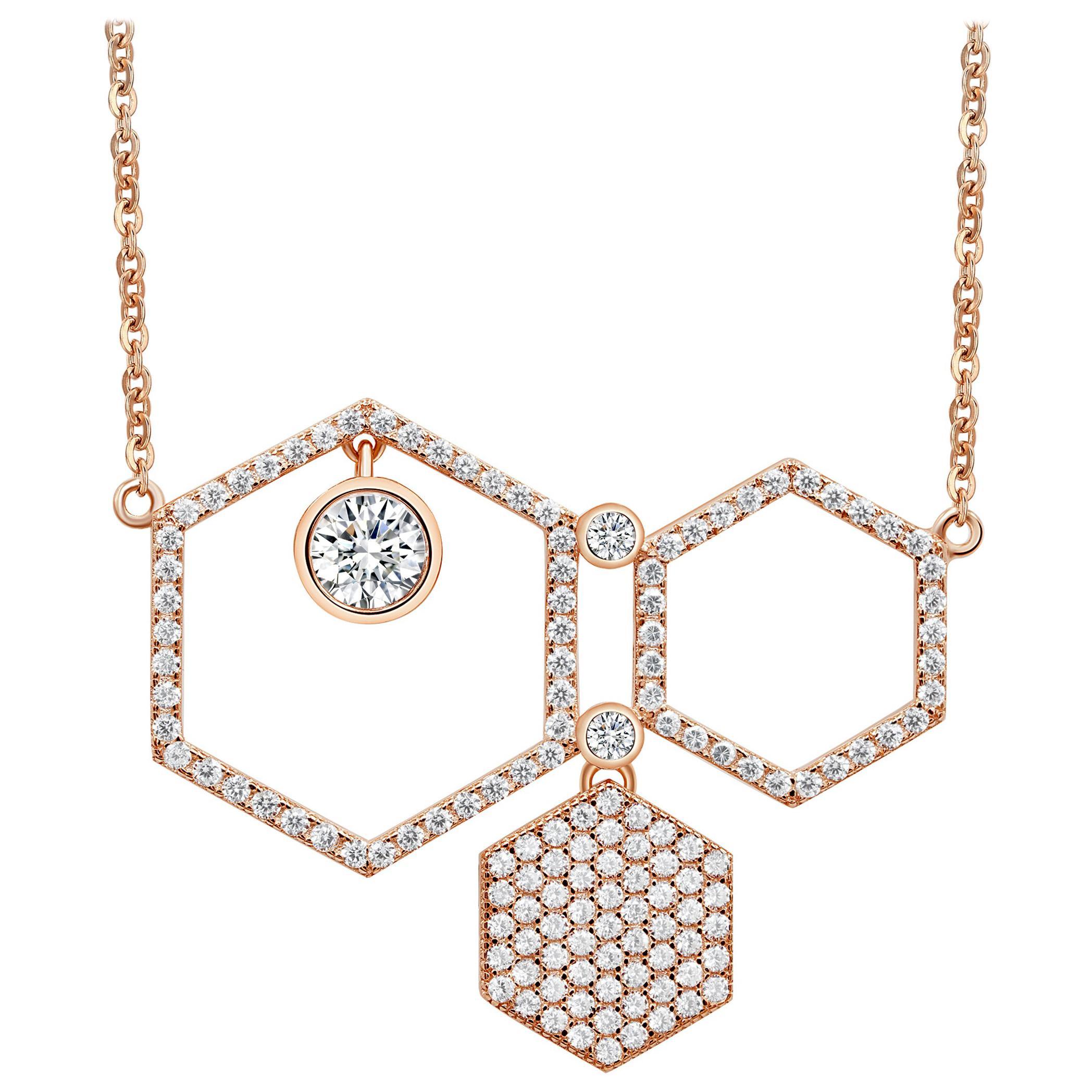 18 Karat Rose Gold Diamond Honey Drop Pave Necklace