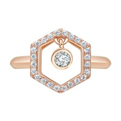 18 Karat Rose Gold Diamond Honey Drop Ring