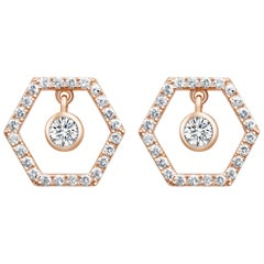18 Karat Rose Gold Diamond Honey Drop Stud Earrings