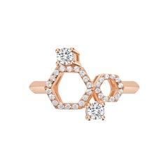 18 Karat Rose Gold Diamond Honey Ring