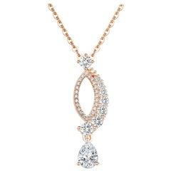 18 Karat Rose Gold Diamond Leaf Pendant Necklace