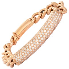 18 Karat Rose Gold Diamond Link Bracelet