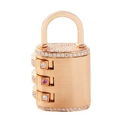 18 Karat Rose Gold Diamond Padlock Pendant