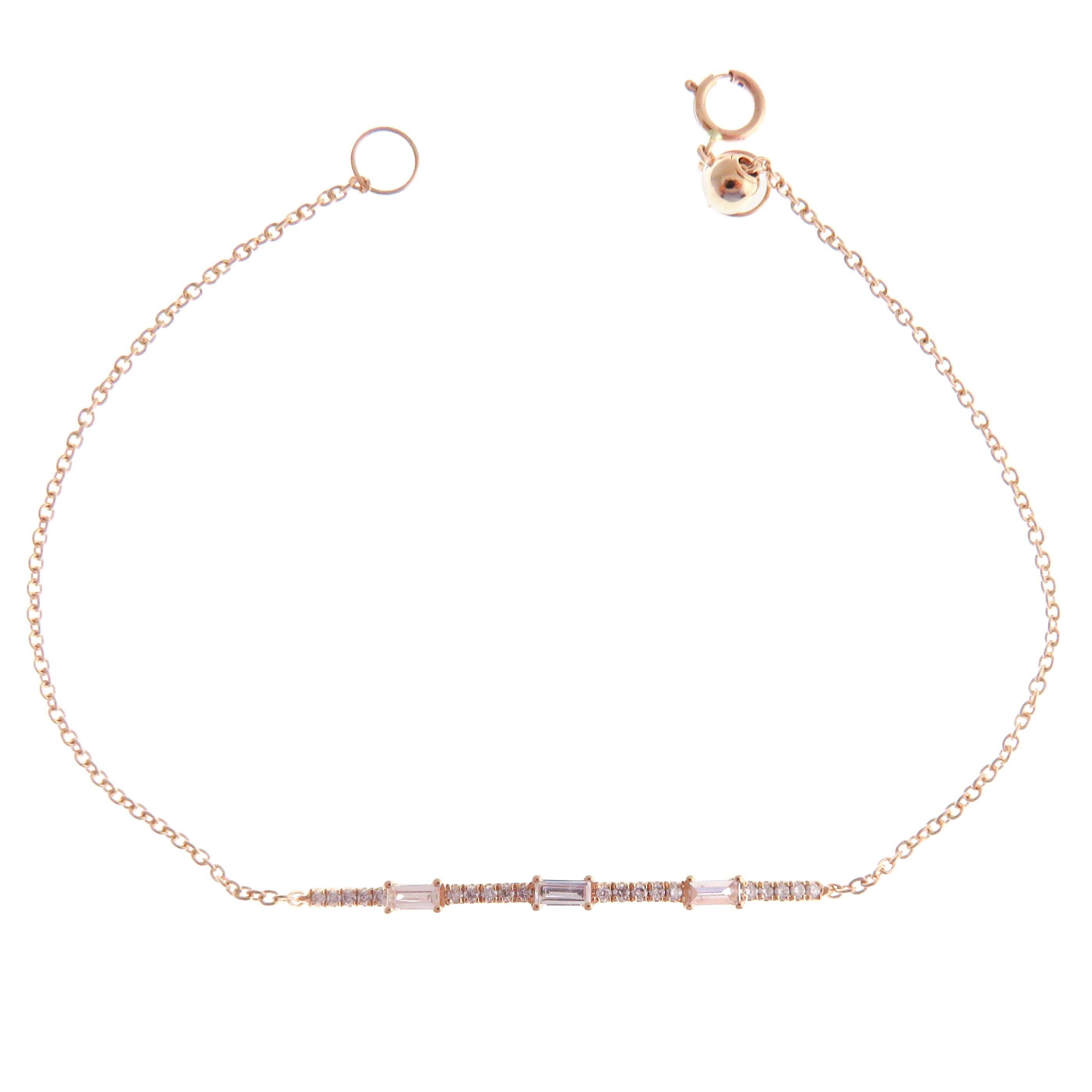18 Karat Rose Gold Diamond Pavé Baguette Accent Bar Bracelet
