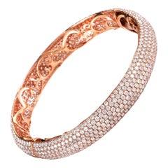 18 Karat Rose Gold Diamond Pave Bangle Bracelet