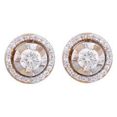 18 Karat Rose Gold Diamond Round Stud Earrings