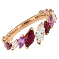 18 Karat Rose Gold Diamond, Ruby and Pink Sapphire Open Bypass Band Ring