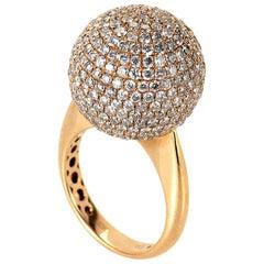 18 Karat Rose Gold Diamond Set Sphere Ring