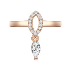 18 Karat Rose Gold Diamond Single Leaf Ring