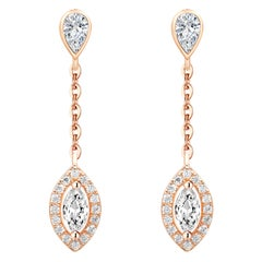 18 Karat Rose Gold Diamond Small Leaf Drop Earrings