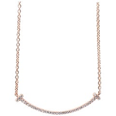 18 Karat Rose Gold Diamond Smile Necklace