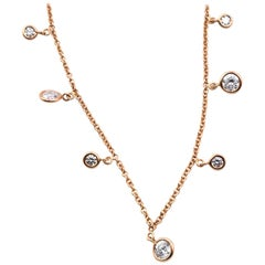 18 Karat Rose Gold Diamond Station Necklace