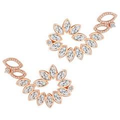 18 Karat Rose Gold Diamond Swirl Earrings
