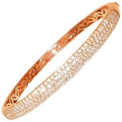 18 Karat Rose Gold Diamond Tapered Bangle Bracelet