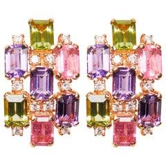 18 Karat Rose Gold Diamond Tourmaline Amethyst and Peridot Cluster Earrings
