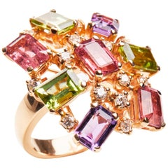 18 Karat Rose Gold Diamond Tourmaline Amethyst and Peridot Cluster Ring
