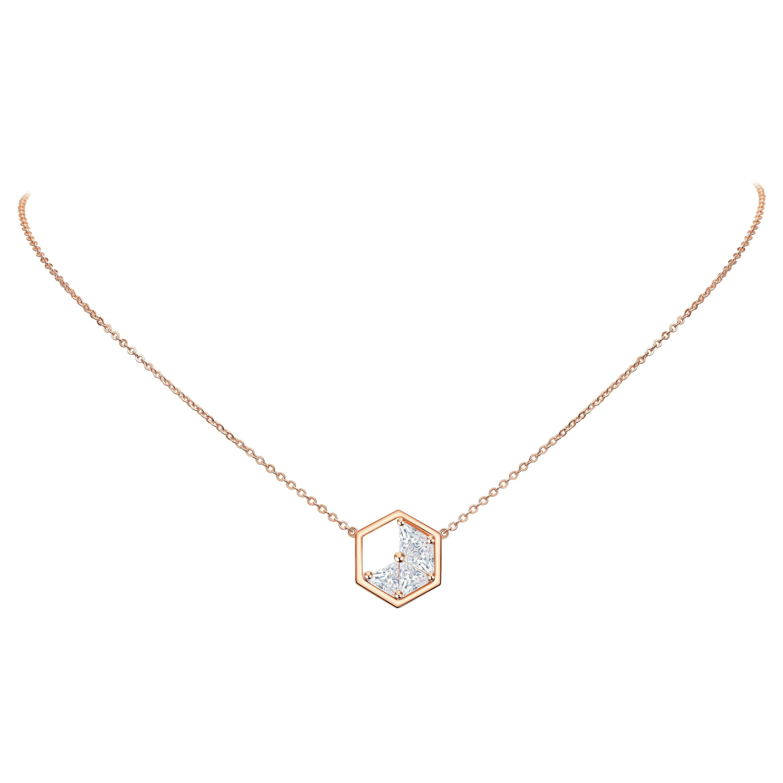 18 Karat Rose Gold Diamond Triangle Necklace