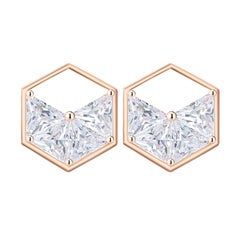 18 Karat Rose Gold Diamond Triangle Stud Earrings