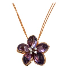 18 Karat Rose Gold Diamonds and Amethysts Garavelli Flower Necklace