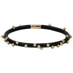 18 Karat Rose Gold Diamonds and Black Aluminium Bracelet