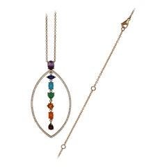 18 Karat Rose Gold, Diamonds and Gems Chakra Pendant