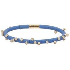 18 Karat Rose Gold Diamonds and Light Blue Aluminium Bracelet