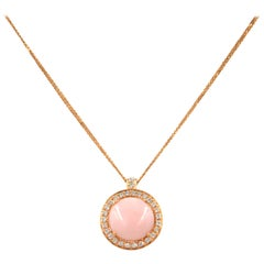 18 Karat Rose Gold Diamonds and Pink Opal Garavelli Round Pendant with Chain