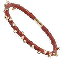 18 Karat Rose Gold Diamonds and Red Aluminium Bracelet