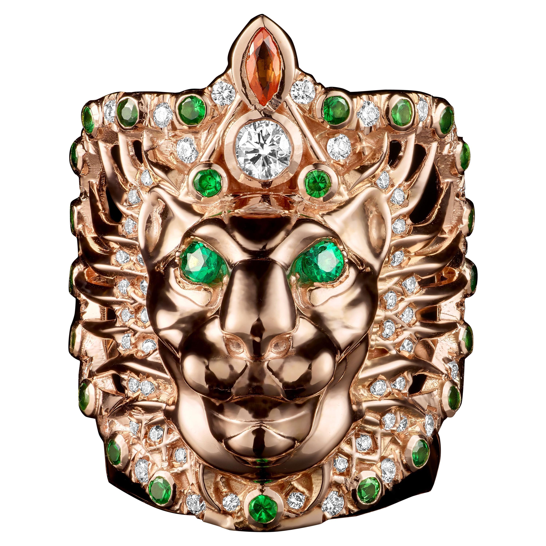 18 Karat Rose Gold Diamonds Emeralds Tsavorites Sapphires Cocktail Ring Lioness