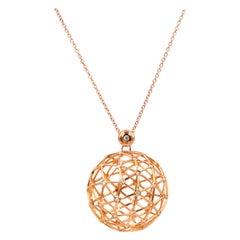 18 Karat Rose Gold Diamonds Garavelli Globo Pendant Necklace