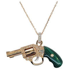 18 Karat Rose Gold Diamonds Malachite Gun Pendant