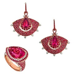 18 Karat Rose Gold, Diamonds, Mozambican Ruby and Rubelite Earrings and Ring