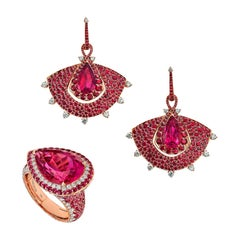 18 Karat Rose Gold, Diamonds, Mozambican Ruby and Rubellite Earrings and Ring