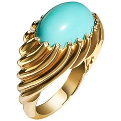 18 Karat Rose Gold Dome Cocktail Ring Set with Turquoise Cabochon and Diamonds