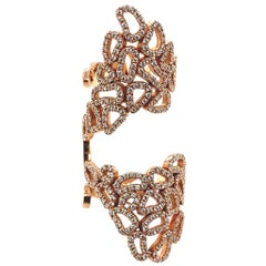 18 Karat Rose Gold Double Pave Lace Ring