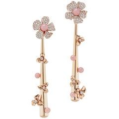 18 Karat Rose Gold Drop Earrings with Diamond and Pink Opal Accents