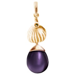 18 Karat Rose Gold Drop Pendant Necklace with Amethyst by the Artist