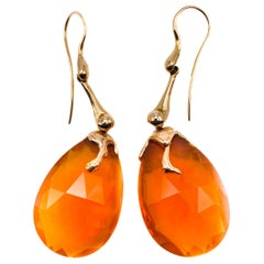 18 Karat Rose Gold Earrings and Fire Opal