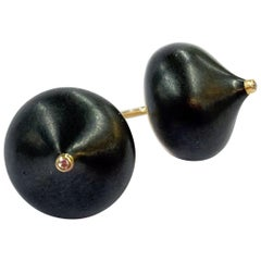 18 Karat Rose Gold Earrings with Blackened Steel and Diamonds