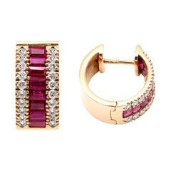 18 Karat Rose Gold Emerald-Cut Ruby and Diamond Huggies Mini-Hoop Earrings